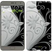 Чехол для Meizu Metal Цветы на чёрно-белом фоне 840u-507