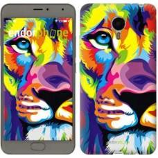 Чехол для Meizu Metal Разноцветный лев 2713u-507