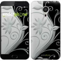 Чехол для Meizu MX5 Цветы на чёрно-белом фоне 840c-105