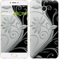 Чехол для Meizu MX6 Цветы на чёрно-белом фоне 840m-259
