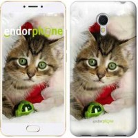 Чехол для Meizu MX6 Новогодний котёнок в шапке 494m-259