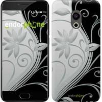 Чехол для Meizu Pro 6 Цветы на чёрно-белом фоне 840u-293
