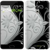 Чехол для Meizu Pro 6 Plus Цветы на чёрно-белом фоне 840u-678