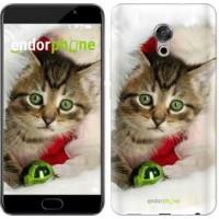 Чехол для Meizu Pro 6 Plus Новогодний котёнок в шапке 494u-678