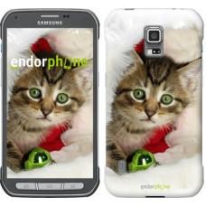 Чехол для Samsung Galaxy S5 Active G870 Новогодний котёнок в шапке 494u-364