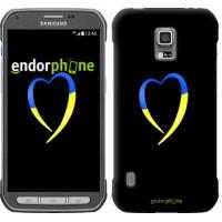 Чехол для Samsung Galaxy S5 Active G870 Жёлто-голубое сердце 885u-364