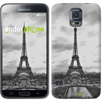 Чехол для Samsung Galaxy S5 Duos SM G900FD Чёрно-белая Эйфелева башня 842c-62