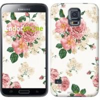 Чехол для Samsung Galaxy S5 Duos SM G900FD цветочные обои v1 2293c-62