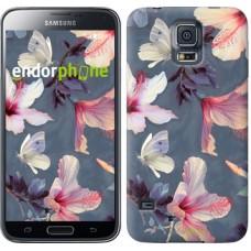 Чехол для Samsung Galaxy S5 Duos SM G900FD Нарисованные цветы 2714c-62