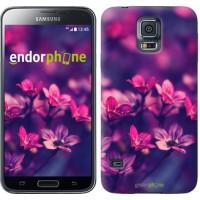 Чехол для Samsung Galaxy S5 Duos SM G900FD Пурпурные цветы 2719c-62