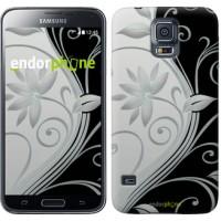 Чехол для Samsung Galaxy S5 G900H Цветы на чёрно-белом фоне 840c-24