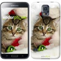 Чехол для Samsung Galaxy S5 G900H Новогодний котёнок в шапке 494c-24