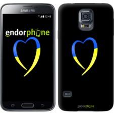 Чехол для Samsung Galaxy S5 G900H Жёлто-голубое сердце 885c-24