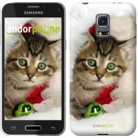 Чехол для Samsung Galaxy S5 mini G800H Новогодний котёнок в шапке 494m-44