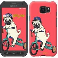 Чехол для Samsung Galaxy S6 active G890 Мопс на велосипеде 3072u-331