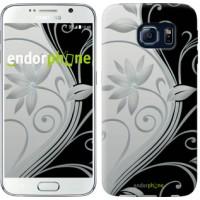 Чехол для Samsung Galaxy S6 G920 Цветы на чёрно-белом фоне 840c-80