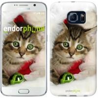 Чехол для Samsung Galaxy S6 G920 Новогодний котёнок в шапке 494c-80