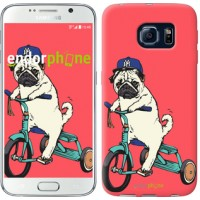 Чехол для Samsung Galaxy S6 G920 Мопс на велосипеде 3072c-80