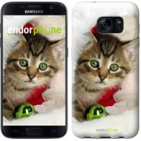 Чехол для Samsung Galaxy S7 G930F Новогодний котёнок в шапке 494m-106