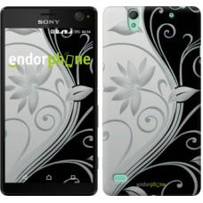 Чехол для Sony Xperia C4 Цветы на чёрно-белом фоне 840m-295