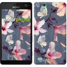 Чехол для Sony Xperia C4 Нарисованные цветы 2714m-295