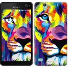 Чехол для Sony Xperia C4 Разноцветный лев 2713m-295