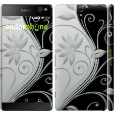 Чехол для Sony Xperia C5 Ultra Dual E5533 Цветы на чёрно-белом фоне 840m-506