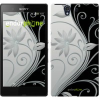 Чехол для Sony Xperia Z C6602 Цветы на чёрно-белом фоне 840m-40