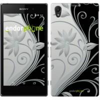Чехол на Sony Xperia Z1 C6902 Цветы на чёрно-белом фоне 840c-38