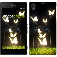 Чехол на Sony Xperia Z1 C6902 Светящиеся бабочки 2983c-38