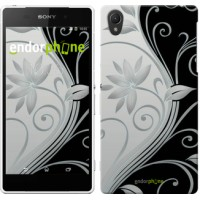Чехол для Sony Xperia Z2 D6502/D6503 Цветы на чёрно-белом фоне 840c-43