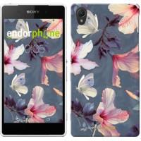 Чехол для Sony Xperia Z2 D6502/D6503 Нарисованные цветы 2714c-43