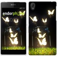 Чехол для Sony Xperia Z2 D6502/D6503 Светящиеся бабочки 2983c-43