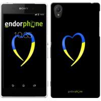 Чехол для Sony Xperia Z2 D6502/D6503 Жёлто-голубое сердце 885c-43