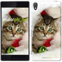 Чехол для Sony Xperia Z3 D6603 Новогодний котёнок в шапке 494c-58