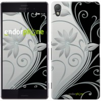 Чехол для Sony Xperia Z3 D6603 Цветы на чёрно-белом фоне 840c-58