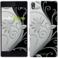 Чехол для Sony Xperia Z3 dual D6633 Цветы на чёрно-белом фоне 840c-59