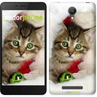 Чехол для Xiaomi Redmi Note 2 Новогодний котёнок в шапке 494c-96
