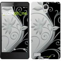 Чехол для Xiaomi Redmi Note Цветы на чёрно-белом фоне 840u-111